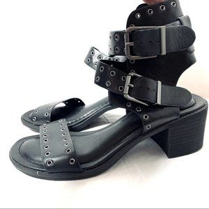 Mia Lisa Black Chunky Double Ankle Strap Riveted Sandals